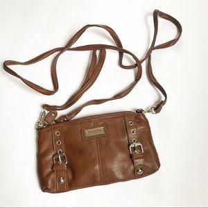 Franco Sarto brown crossbody bag wristlet combo
